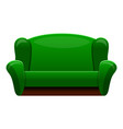 Retro green sofa icon cartoon style
