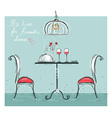 Romantic dinner sketchy color isolated on white vector image