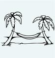 Romantic hammock between palm trees vector image