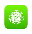 round viral bacteria icon digital green vector image vector image