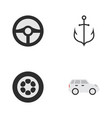 set of simple transportation icons elements wheel vector image vector image