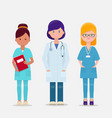 set of three female doctor and nurses vector image vector image