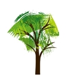 silhouette tree with leaves vector image vector image