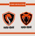 snake shield logo vector image vector image