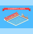 swimming pool and sportsmen vector image