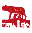 symbol rome capitoline wolf with roman vector image vector image