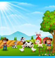 the cowboy and cowgirl at the farm with animals vector image