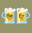 the word beer made of chemical elements beryllium vector image vector image
