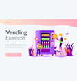 vending machine service landing page template vector image vector image