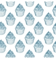 Vintage cupcake with chalks Sketches Seamless vector image vector image