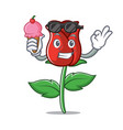 with ice cream red rose character cartoon vector image vector image
