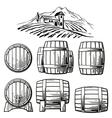 Wooden barrel set and rural landscape with villa vector image vector image