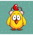 Yellow Chick In Earmuffs vector image