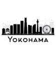 Yokohama City skyline black and white silhouette vector image vector image