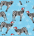 zebra wearing santa hats seamless pattern vector image