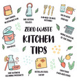 zero waste lifestyle tips suggestions for kitchen vector image