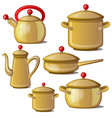 collection of kettle pan cups and a jug vector image