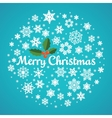 Christmas snowflake round hand drawn card vector image