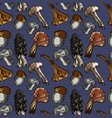 hand drawn seamless pattern with mushrooms vector image
