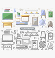 school classroom furniture set in flat style vector image