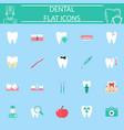 dental flat icon set vector image