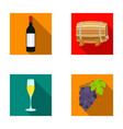 a bottle of red wine a wine barrel a glass of vector image