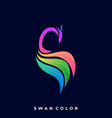 abstract swan colorful template vector image vector image