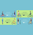 active lifestyle set of posters depicting cyclists vector image vector image