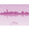Albany skyline in radiant orchid vector image vector image