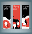 banner set with stylish woman silhouette vector image vector image