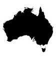 black silhouette of australia map geographic vector image vector image
