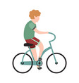 boy cyclist school child or teenager is vector image