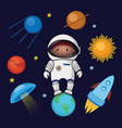 boy spaceman in space rocket ufo planets stars vector image