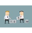 Businessmen creating from cubes the word Team vector image vector image