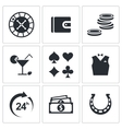 Casino and luck icon collection vector image vector image