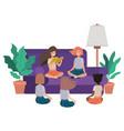 children reading in living room avatar character vector image