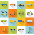 collection of transport icons with long shadow vector image vector image