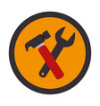 color circular emblem with hammer and wrench vector image vector image
