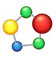 colored molecule icon cartoon style vector image vector image