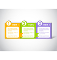 Colorful bookmarks with three items vector image