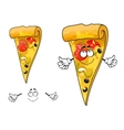 Cute cartoon thin slice of pizza character vector image