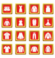 different clothes icons set red vector image vector image