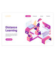 distance learning isometric landing page template vector image