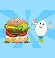 egg and hamburger healthy food and fast food vector image