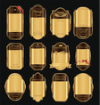empty vintage golden frame background collection 3 vector image vector image