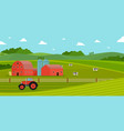 farming with barn house and dairy farm animals vector image vector image