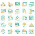 finances management green color linear icons set vector image vector image
