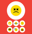 flat icon gesture set of tears grin cold sweat vector image vector image