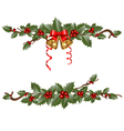 garlands of holly vector image vector image
