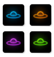 glowing neon ufo flying spaceship icon isolated vector image